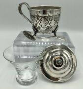 Silverplated Jam Sugar Bowl W/ Glass Insert And Spoon /b