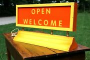 Vintage 1970s Lighted Welcome Open Sign Handmade Working Condition