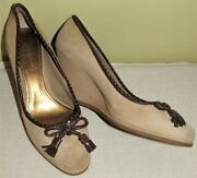 Coach Irene Tan Suede Leather Wedges Shoes Size 6 M Guc