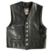 Rare Roots Black Leather Motorcycle Biker Vest M - Buffalo Nickel Buttons Harley
