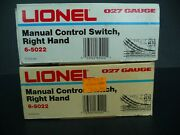 Lot Of 2 Lionel 5022 Right Manual Switches O-27 In Original Boxes