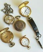 Vintage Gold And Silver Pocket Watch Lot Waltham Milan Majestron Rivalle