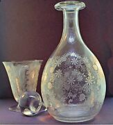 Baccarat Michaelangelo Hand Blown And Etched Decanter And Wine Glass