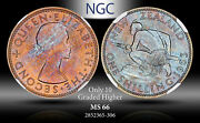 1963 New Zealand 1 Schilling Ngc Ms66 Only 10 Graded Higher Color Toned