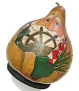 Santa Claus Christmas Goose Gourd Lamp Hand Painted Crafted Fisherman Lighthouse