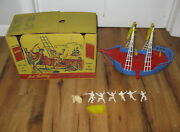 Incomplete Vintage Ideal 1953 Pirate Ship 4037 W Original Box Play Set