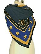 Monogramed Nautical Scarf Navy Blue/blue With Gold Stars