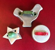 3 Vintage Aluminum Cookie Cutters. Bird,star,circle. All With Painted Handles.