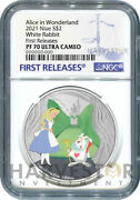 Alice In Wonderland - White Rabbit - 1 Oz. Silver Coin - Ngc Pf70 First Release