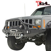Fit For 84-01 Jeep Cherokee Xj Off-road Front Bumper W/led Lights