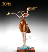 Art Deco Sculpture Abstract A Woman Playing Flute Bronze Statue