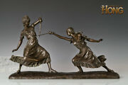 24 Art Deco Sculpture Two Young Girl Fencing Game Sport Bronze Statue