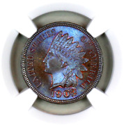 1902 Ms66 Bn Ngc Indian Head Penny Premium Quality Monster Toning