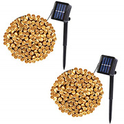 2 Pack Solar String Lights Outdoor 39.4ft 100 Led Outdoor Solar Christmas Modes