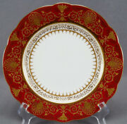 Coalport Raised Beaded Gold Urns And Floral Scrollwork Crimson Red 8 3/4 Plate E