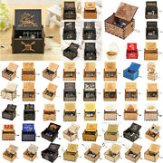 Retro Exquisite Wooden Hand Cranked Music Box Home Crafts Ornaments Gifts Usa