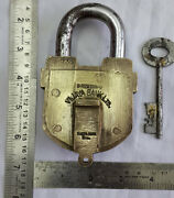 Brass Seal Padlock Or Lock With Key Old Or Antique Big Sized And Heavy.