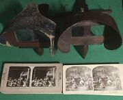 Lot Of 2 Vintage Wooden Stereoscope Viewers + 23 Stereo Cards