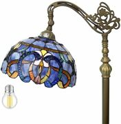 Style Reading Floor Lamp 64 Tall Stained Glass Blue Purple Baroque