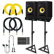 Krk Cl7g3 7 Classic Powered Active Studio Monitor Speakers Pair W Stands