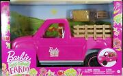 Barbie Sweet Orchard Farm Doll And Pink Pickup Truck With Accessories Playset New