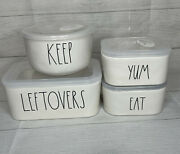 Rae Dunn Leftovers 8-pc Ceramic Food Storage Set Yum Keep Eat Containers Dishes