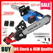 42v 16and039and039 Electric Cordless Chainsaw Chain Saw Wood Cutting Tools W/2 Batteries