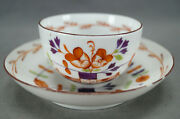 Popov Russian Porcelain Hand Painted Tischchenmuster Tea Cup And Saucer Circa 1810