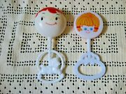 2 Vintage Baby Rattles Plakie Toys Classic Baby Face And Little Girl  Hong Kong