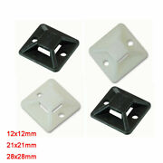 Black White 12/21/28mm Self Adhesive Stick Cable Tie Wire Base Mounts Fasteners