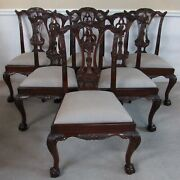 Maitland Smith Chippendal Mahogany Dining Chairs, Set Of 6, Ball And Claw Feet