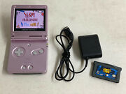 Nintendo Gameboy Advance Sp Console Pearl Pink Ags-101 With Games/charger Tested