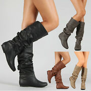 Womens Faux Leather Slouch Knee High Boots Flat Heel Casual Plain Booties Shoes
