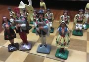 Vintage Dutch Wood Carved Figurines Chess Board Set Hand Painted 5andrdquo King Rare