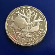 1975 Silver Proof Two 2 Dollar Staghorn Coral With Fish Barbados Coin