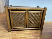 Mid-century Modern Hollywood Regency Bamboo Cabinet H30andrdquo X L44 .5andrdquo X D24andrdquo