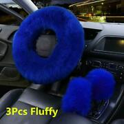 3pcs Universal Furry Fluffy Thick Fur Wool Car Steering Wheel Cover Gem Blue New