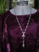 King Baby Sterling Silver Sugr Skull Roses Cross Day Of The Dead Rosary Necklace