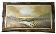 47 Oil Painting Canvas Signed H. Gailey Seascape Lone Boat Seagulls Far Shore