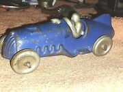 Antique Hubley Cast Iron W/ Nickel Driver Boat Tail Racer Rare Blue Ex Cond. Mar