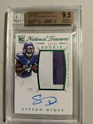 2015 Panini National Treasures Green 141 Stefon Diggs Patch Auto 3/14 Bgs 9.5