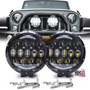 Pair 7 Inch Led Work Lights Round Whitsehalo Ring Fog Headlights Trucks Off Road