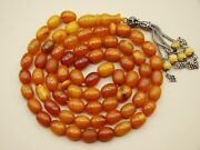 Old Real Antique Rare Natural Amber Necklace / Rosary / Prayer Beads / 38 Grams