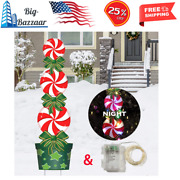Outdoor Christmas Decorations -47in Candy Xmas Yard Stakes Signs With String ...