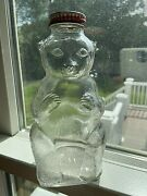 Snow Crest Beverages Bear Coin Bank Bottle Clear Glass W Top No Chips Fabulous