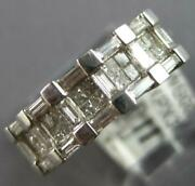 Wide .98ct Diamond 14k White Gold 3d Princess And Baguette Square Anniversary Ring