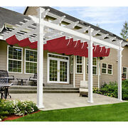 7ft Red Customize Roman Shade Wave Canopy Cover Replacement Pergola Shade