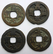 4 Different Authentic Chinese Bronze Cash Coins Unsorted 100and039s Year Old Cs3