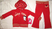 Betty Boop Gorgeous Rare Toddlers Girls 2 Pc Red Hooded Sweatsuit Set Sz 3t Htf