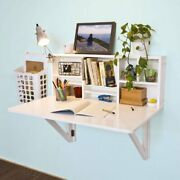 White Folding Wooden Wall Mounted Drop Leaf Table Desk Integrated Rectangular